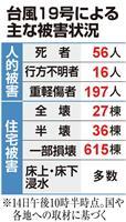 【台風19号】死者56人に、救助や捜索続く 「激甚災害」指定へ