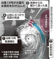 【台風19号】本体東側に巨大「水蒸気帯」 発達台風が熱帯から引き込む