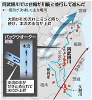 【台風19号】阿武隈川「決壊連鎖」 南から北への流れ、台風の進路と並行に