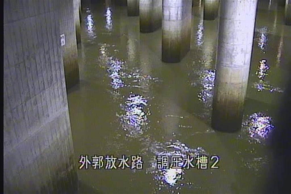河川の水が流入した調圧水槽=13日、いずれも春日部市の首都圏外郭放水路(江戸川河川事務所提供)