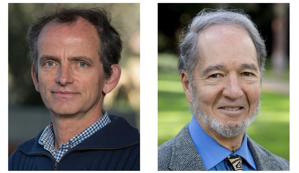 2019年(第28回)ブループラネット賞受賞者のエリック・ランバン教授(左)とジャレド・ダイアモンド教授