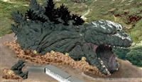 淡路島に等身大ゴジラ 研究員に扮し、体内突入