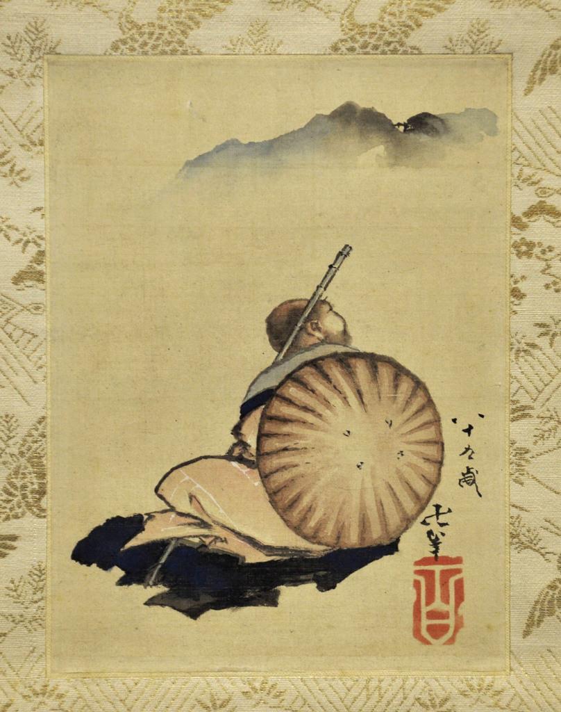 葛飾北斎が晩年に描いた肉筆画「富士見西行図」=2日、京都市