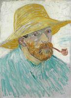 【ゴッホ展この1点】(1)「パイプと麦藁帽子の自画像」1887年9~10月