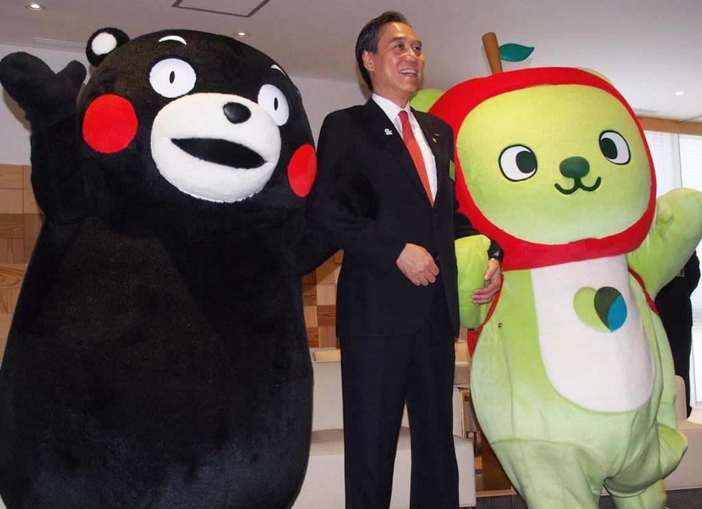 ゆるキャラグランプリ2019の第1位に輝いた長野県PRキャラクターのアルクマ(右)
