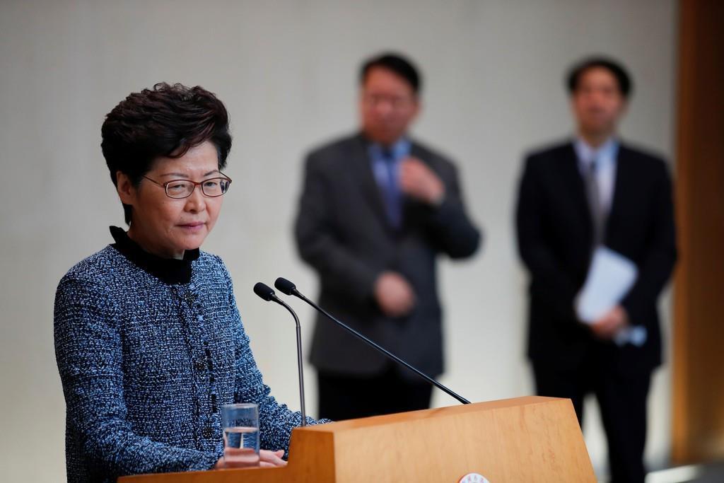香港の林鄭月娥行政長官=10月29日(ロイター)