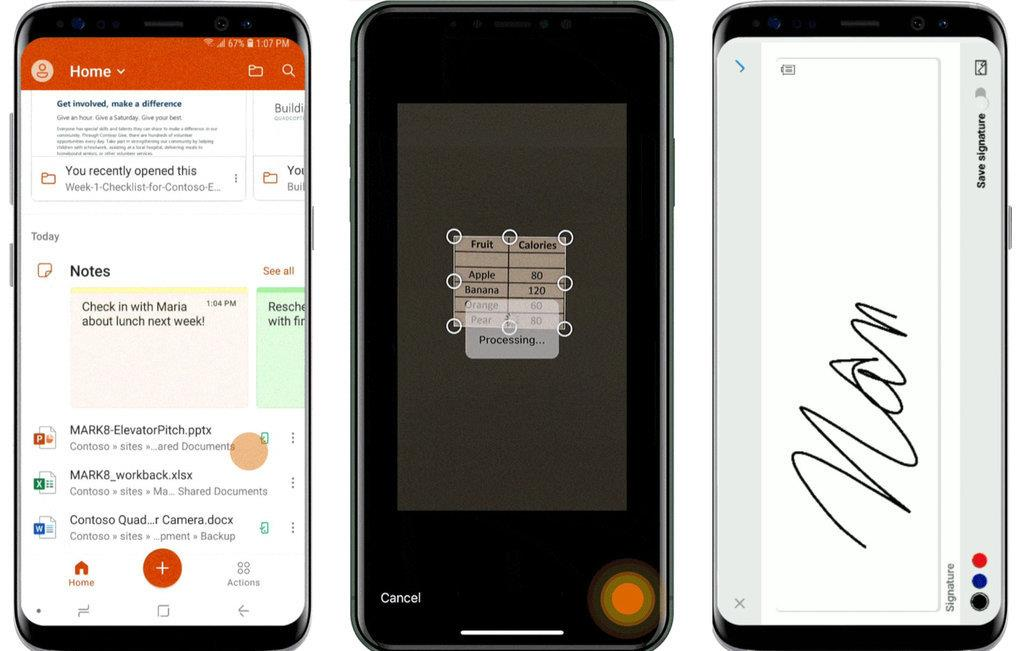 左から、ホーム画面、表組みの画像をExcelファイルに変換する機能、PDFへのサイン機能