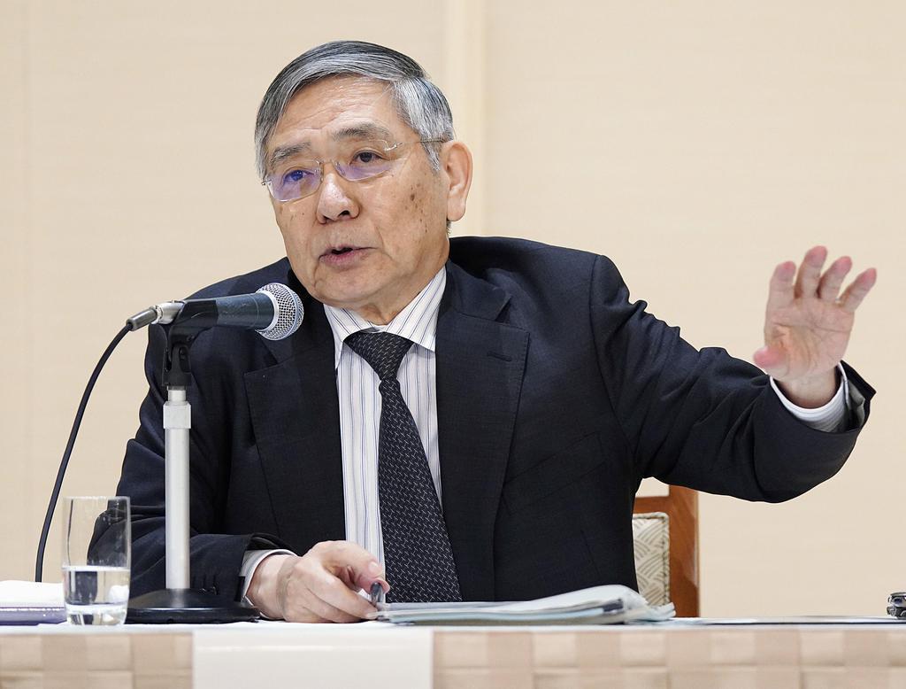 名古屋市で講演する日銀の黒田総裁=5日午前