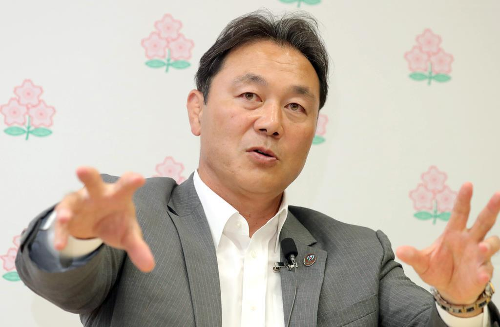 日本ラグビーフットボール協会・清宮克幸副会長(山田俊介撮影)