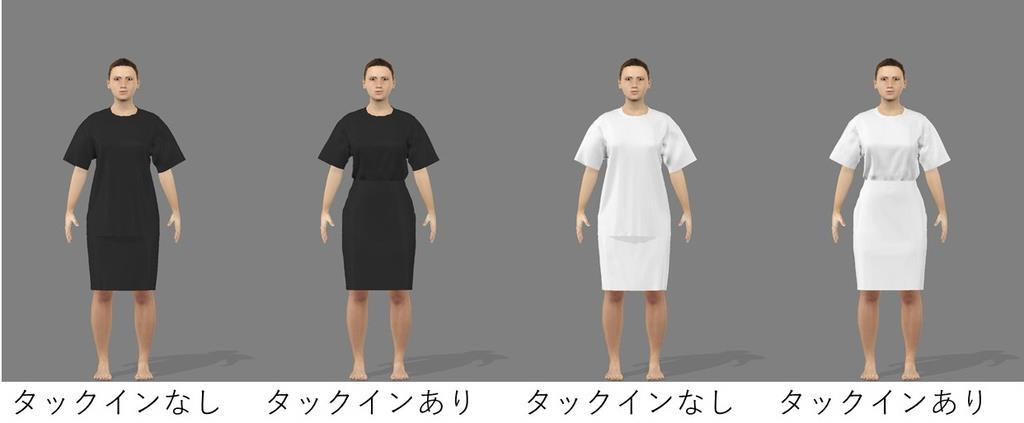服の色と着こなしによる着やせ効果を調べた画像(作製協力・デジタルファッション社、森川和則教授提供)