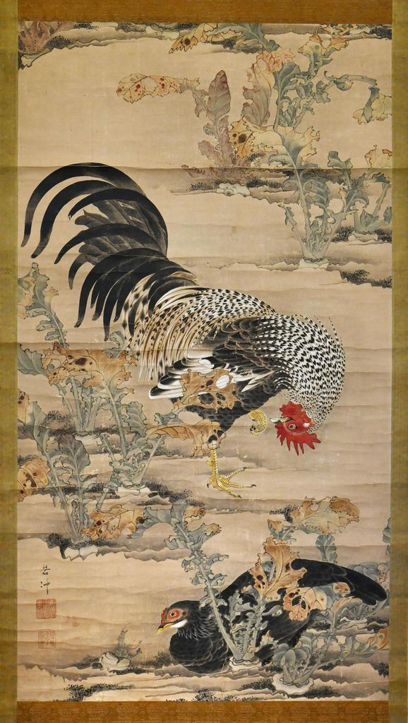 画家伊藤若冲の最初期の作品「蕪に双鶏図」=5日、京都市