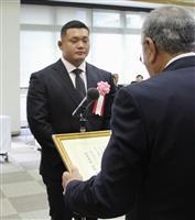 由布市がラグビー日本代表・木津選手を表彰