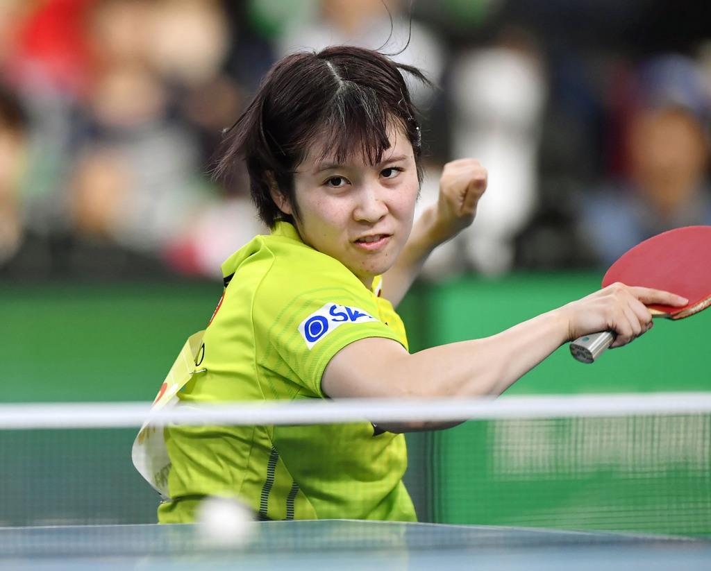 女子1次リーグ オーストリア戦の3戦目でプレーする平野美宇=東京体育館