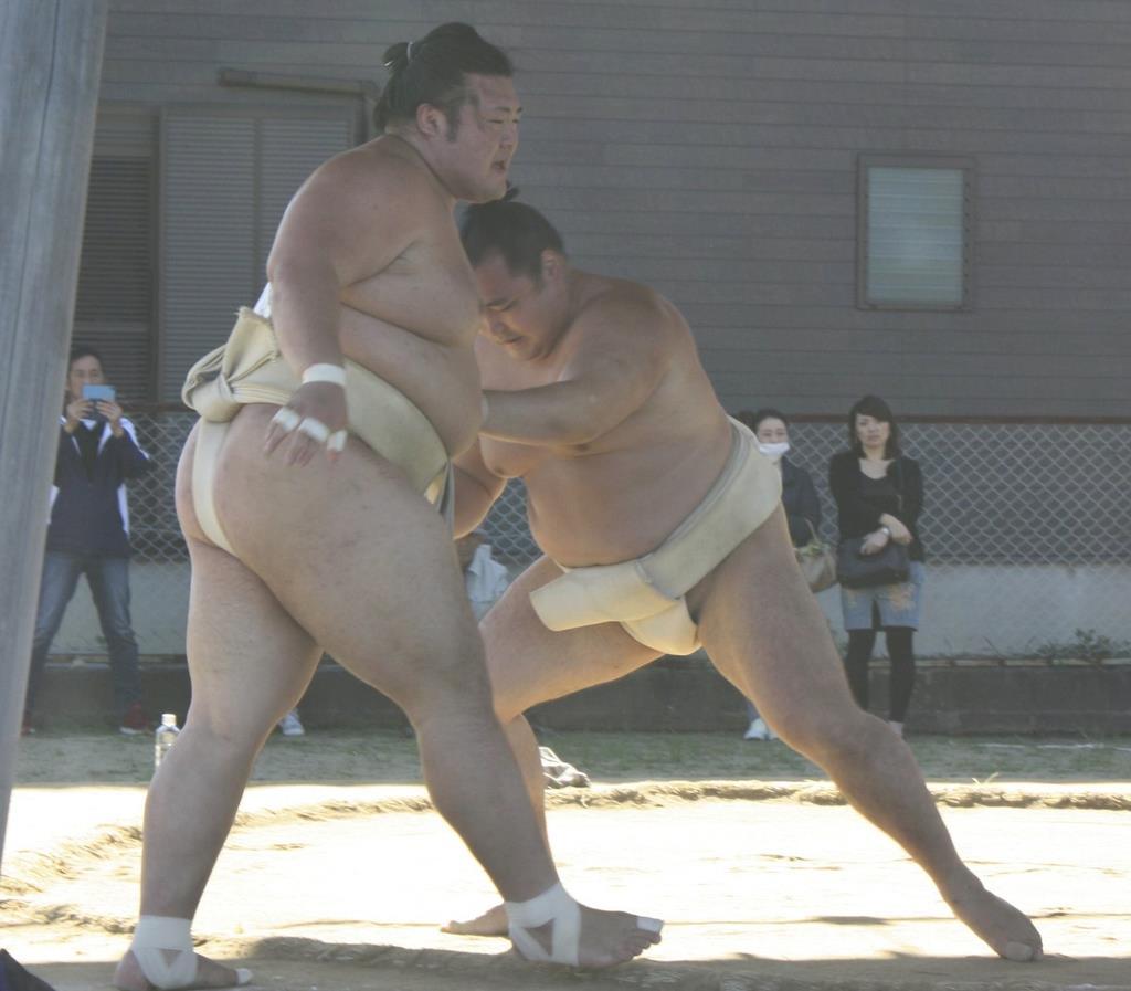 稽古で豊山を押し出す鶴竜(右)。休場明けの九州場所で再起をかける=福岡県内