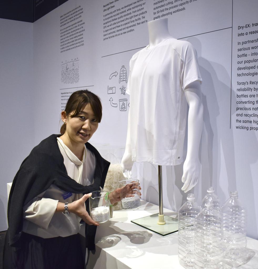 ペットボトルが原料のリサイクル繊維を用いたユニクロのシャツ