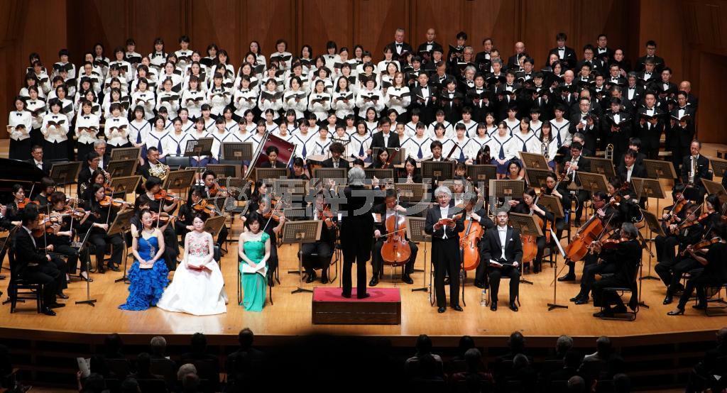 今年4月に東京芸術劇場で開催された交声曲「海道東征」コンサート (桐原正道撮影)