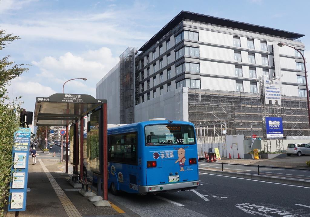 奈良市役所前に来春開業予定の外資系高級ホテル「JWマリオット・ホテル奈良」