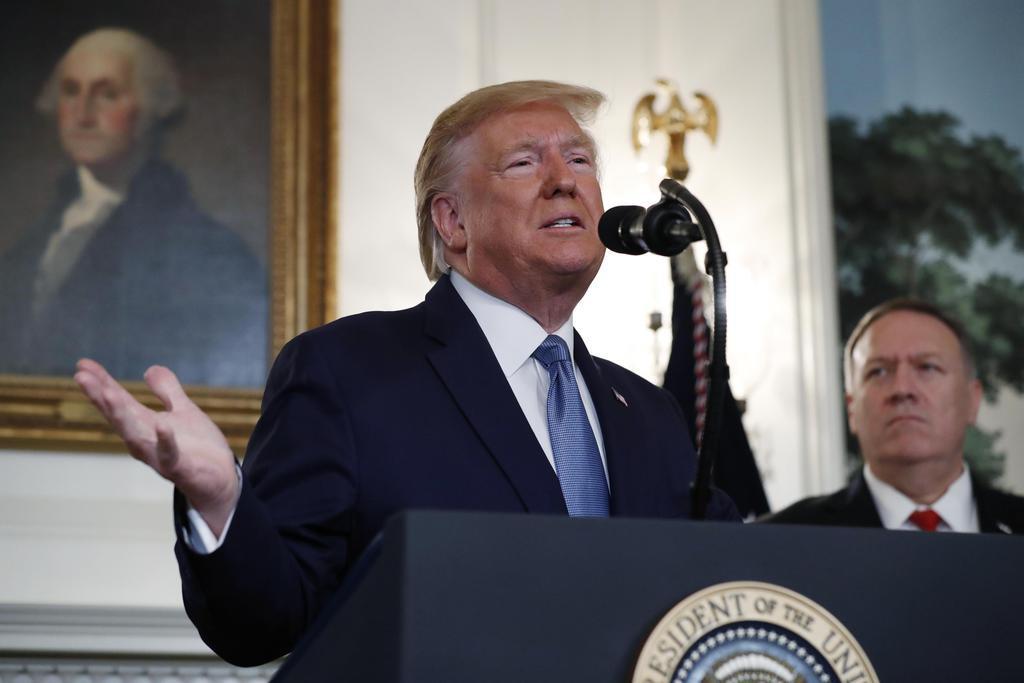 米ホワイトハウスで演説するトランプ大統領(AP)
