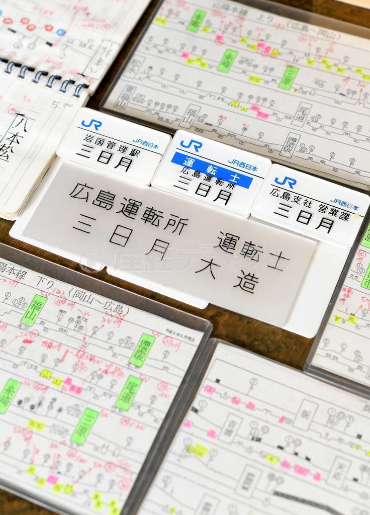 JR西日本に勤務していたころのネームプレートなど、三日月大造さん思い出の品(永田直也撮影)