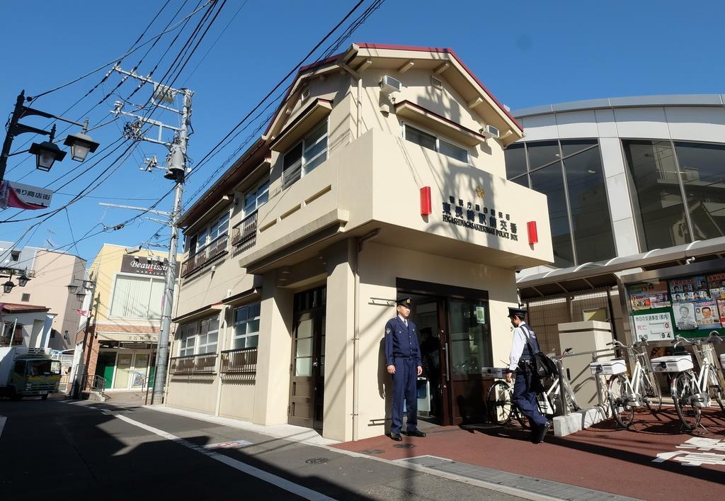 「トキワ荘」の外観を忠実に再現した東長崎駅前交番=東京都豊島区