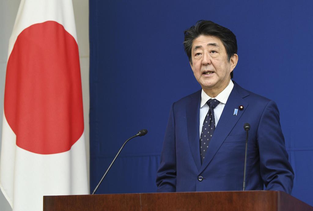 原子力総合防災訓練で緊急事態を宣言する安倍首相=9日午前、首相官邸