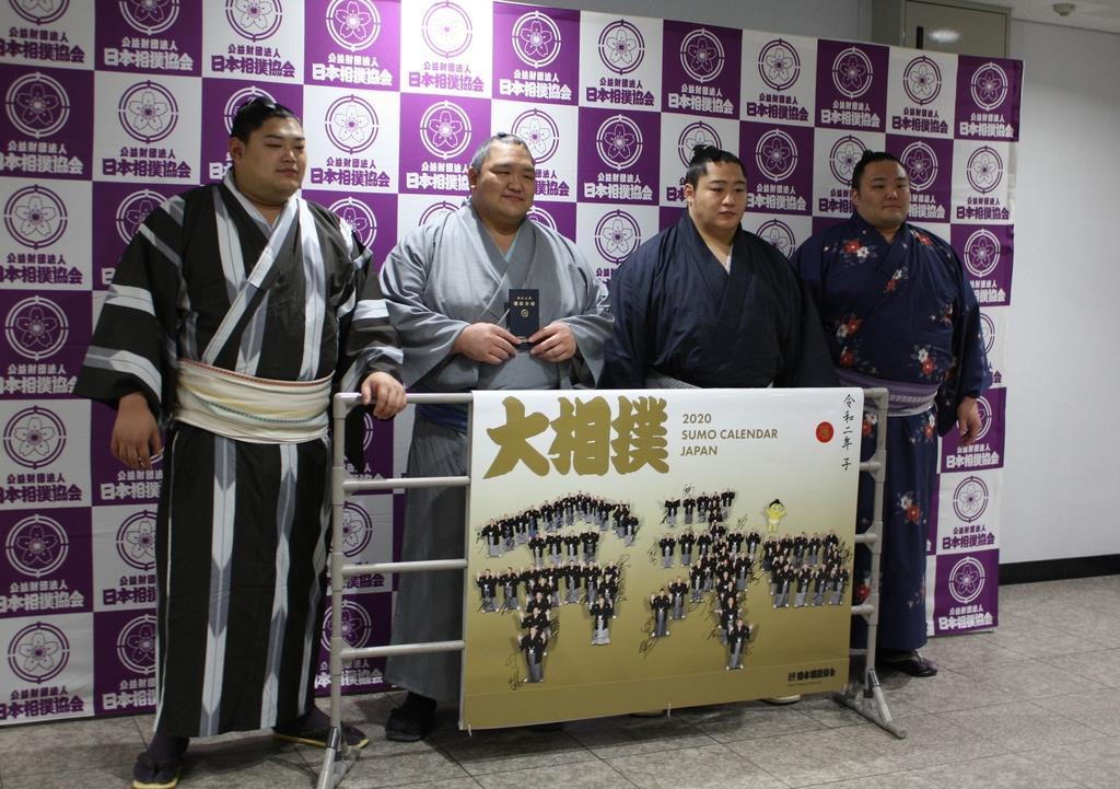 大相撲九州場所で活躍が期待される小結の4人。左から阿炎、北勝富士、遠藤、朝乃山=10月29日、福岡市内