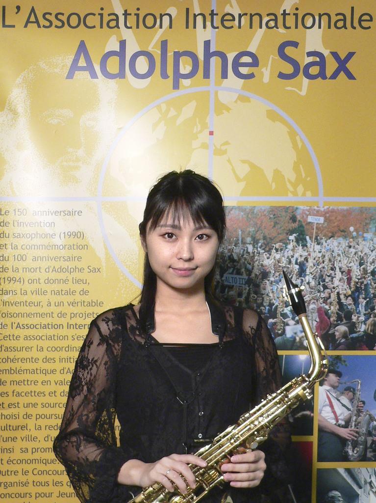ベルギー南部ディナンで行われた「アドルフ・サックス国際コンクール」で2位になった小沢瑠衣さん(主催者提供、共同)