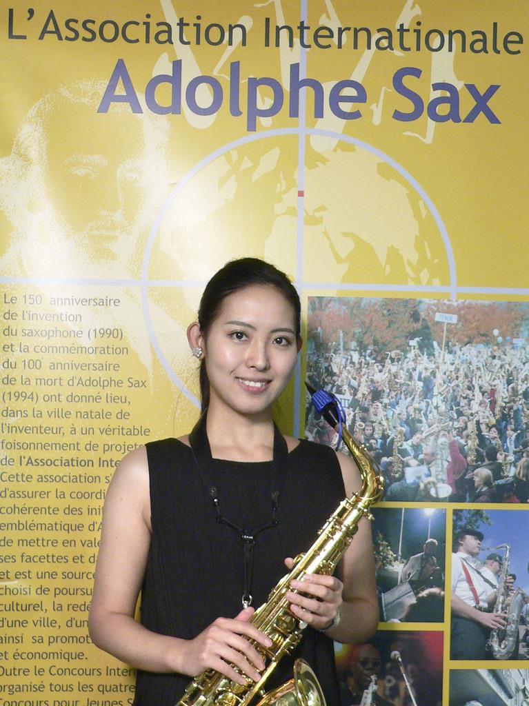 ベルギー南部ディナンで行われた「アドルフ・サックス国際コンクール」で6位になった袴田美帆さん(主催者提供、共同)