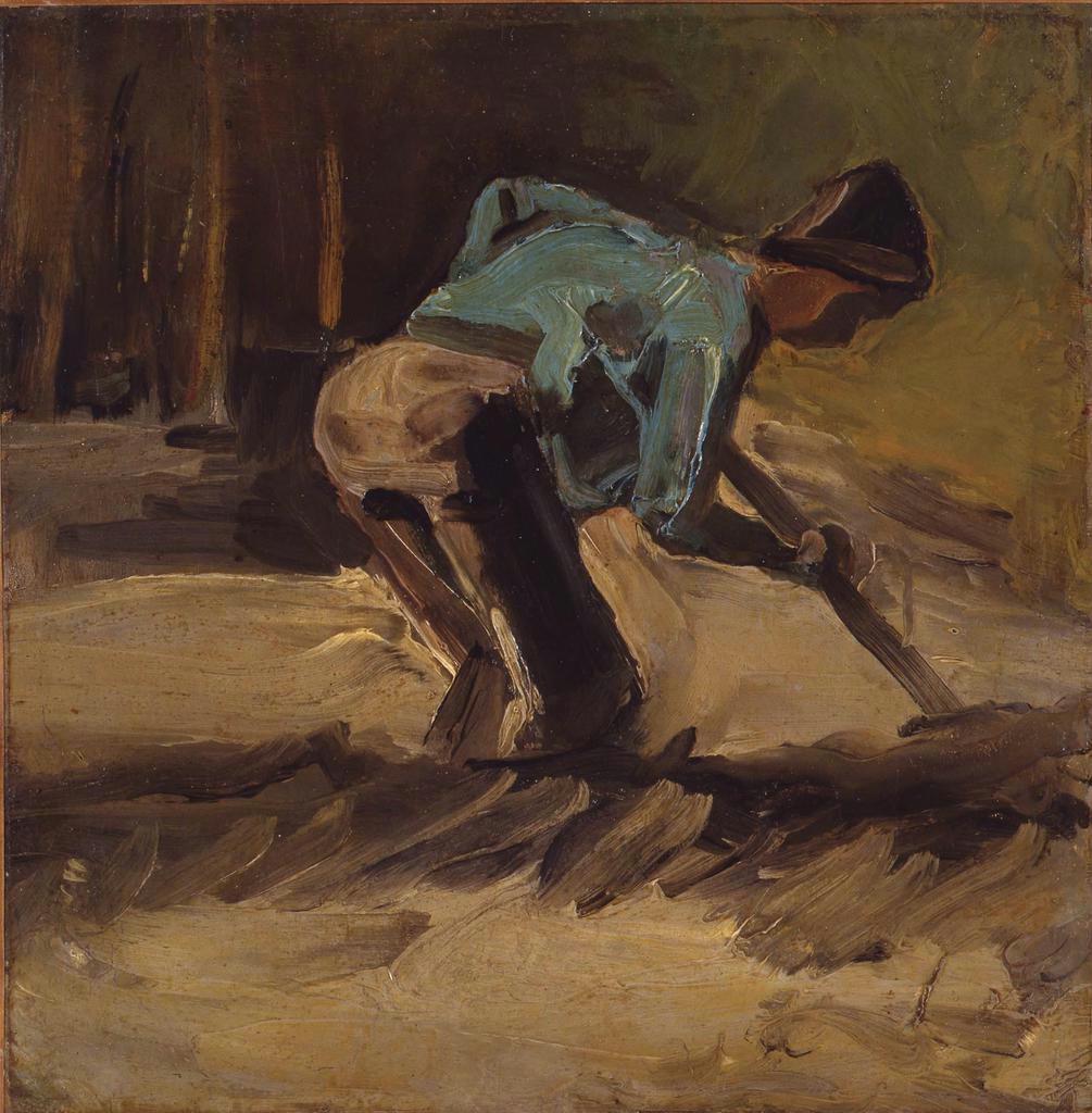 【ゴッホ展この1点】(2)「耕す人」1882~83年頃 画家修業期の力作