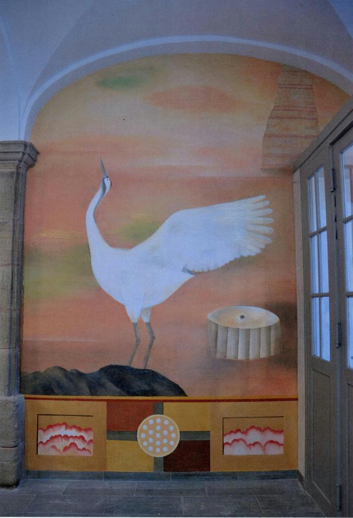 仏・オータン市庁舎に完成した高橋さんの壁画(部分)