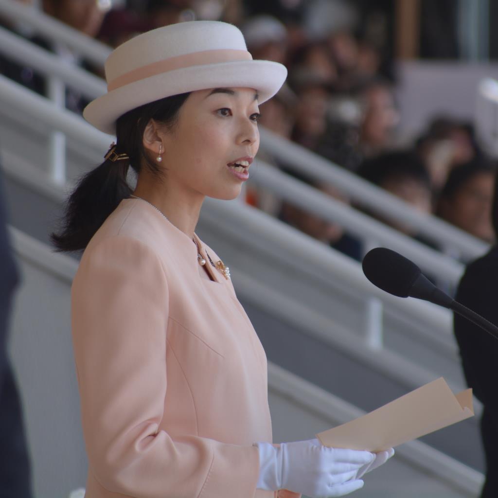 開会式でお言葉を述べられる彬子さま=和歌山市(前川康二撮影)