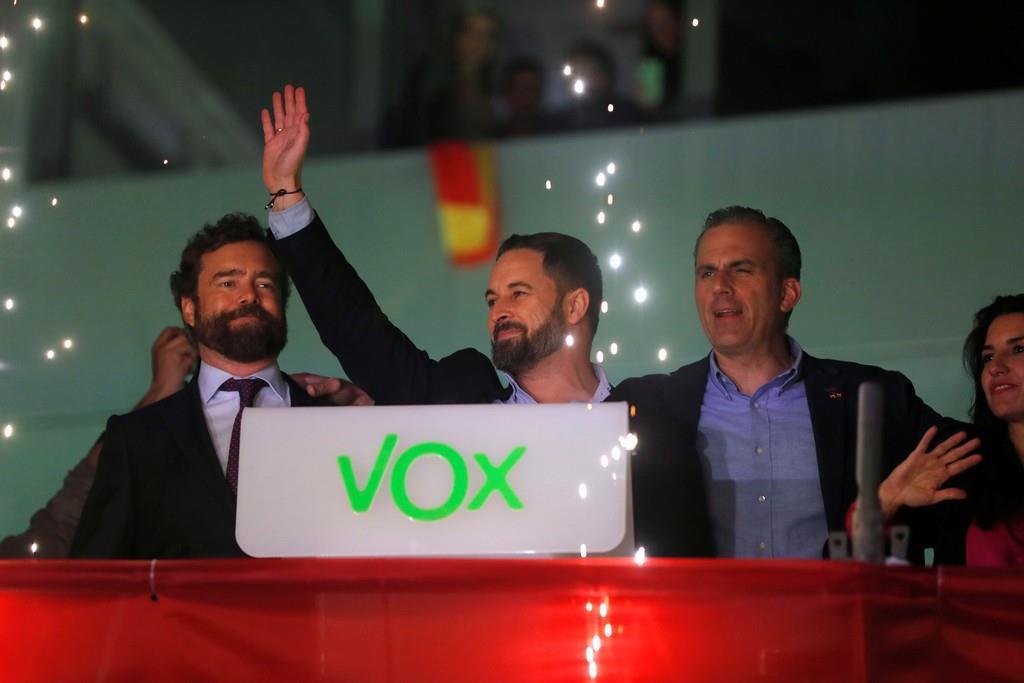 スペイン極右政党「ボックス」(VOX)の指導者=10日、マドリード(ロイター)