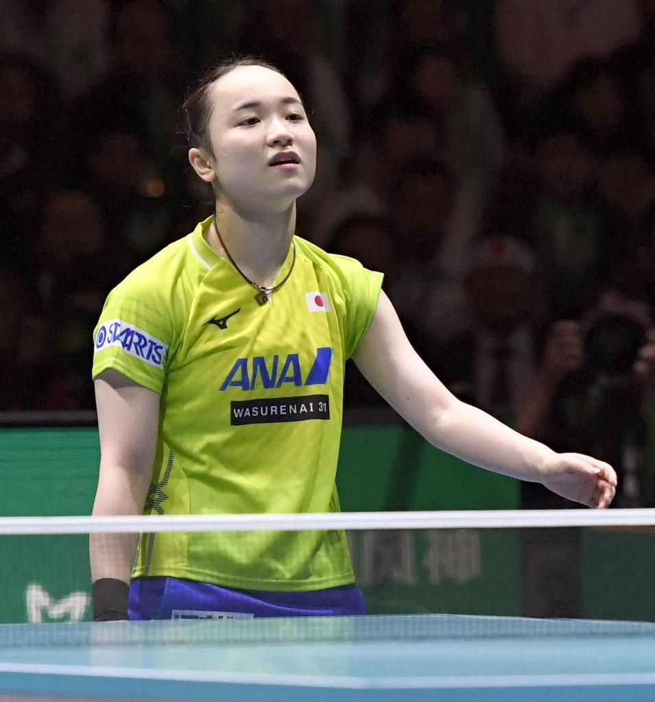 女子決勝 中国戦の2試合目で敗れた伊藤美誠=東京体育館