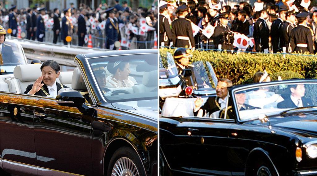 29年ぶりに行われた「祝賀御例の儀」。令和元年11月10日(左)と平成2年11月12日=東京都港区青山