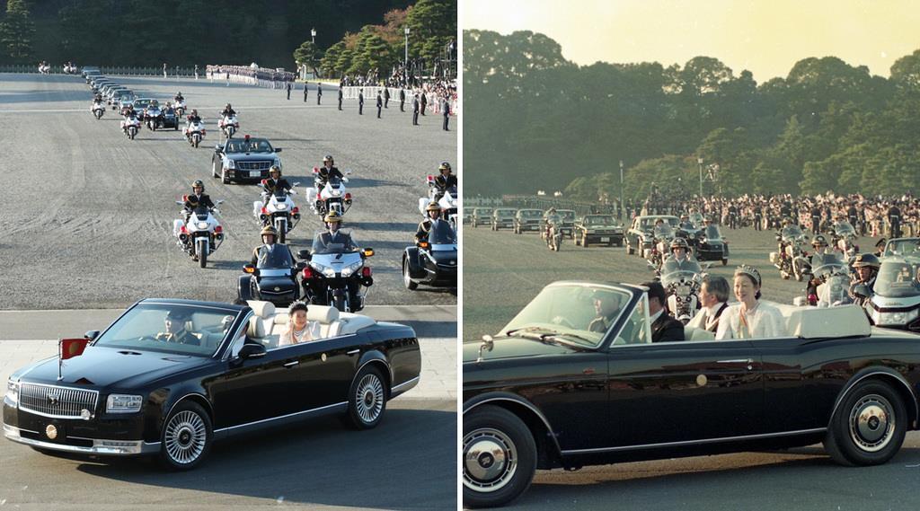 29年ぶりに行われた「祝賀御例の儀」。令和元年11月10日(左)と平成2年11月12日=皇居前広場