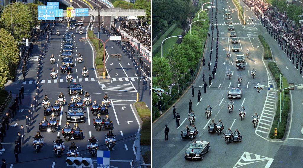 29年ぶりに行われた「祝賀御例の儀」。令和元年11月10日(左)と平成2年11月12日=東京都港区赤坂