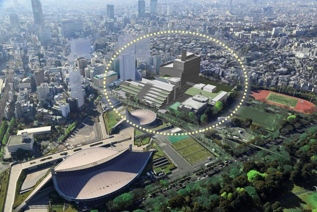 NHK新放送センター完成後の全体イメージ図(点線内)