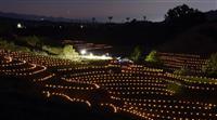 希望の灯り棚田照らす千早赤阪村でライトアップ