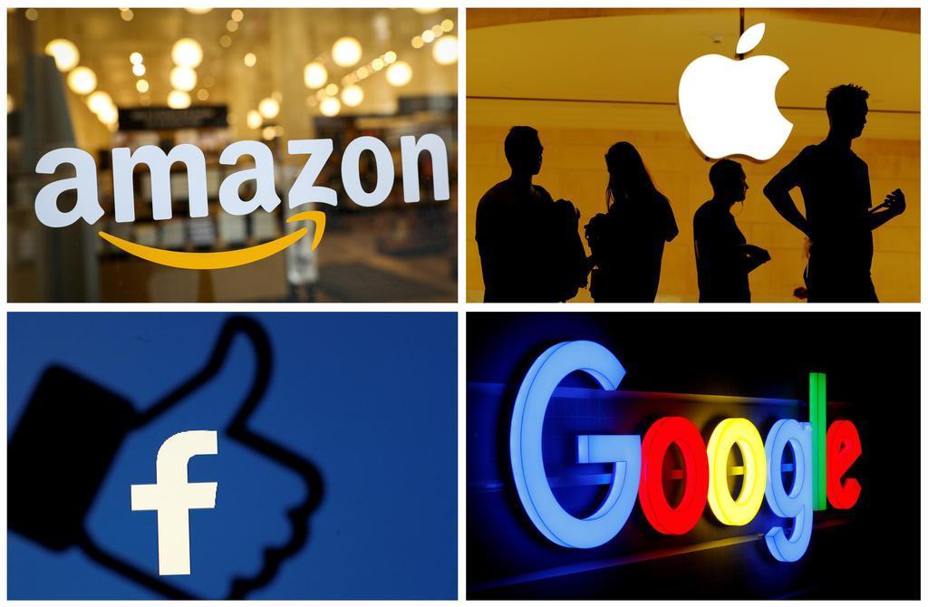 米アマゾン・コム、アップル、フェイスブック、グーグル各社のロゴマーク(ロイター)