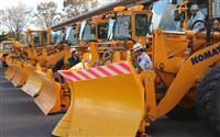 冬間近 福島で除雪機械出発式 被災道路では慎重な作業必要に