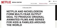 Netflix、Nickelodeonとオリジナルアニメコンテンツ制作で提携
