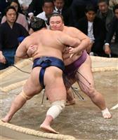 朝乃山、トップタイの4勝目 苦手の押し相撲相手に完勝 九州場所