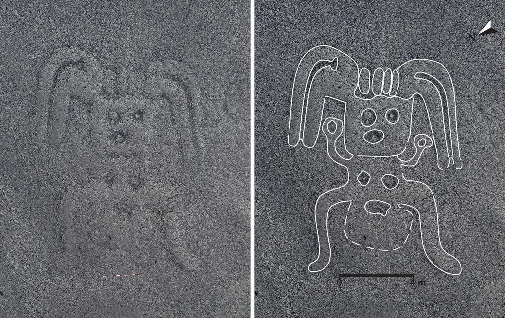 ペルーのナスカ台地で発見された、両手を挙げた人の地上絵。右は見やすいよう縁取りを施している(山形大提供)