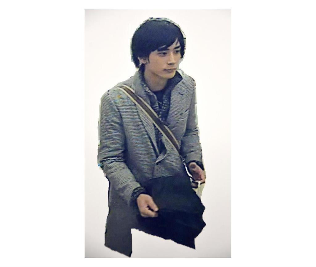 事件当日の15日、新潟市内で撮影された斎藤涼介容疑者(新潟県警提供)