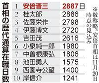 安倍首相、20日で通算在職日数単独1位に 桂太郎抜く