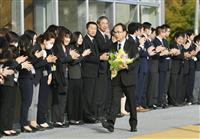 福島・大熊新町長が初登庁 原発事故、復興に課題山積
