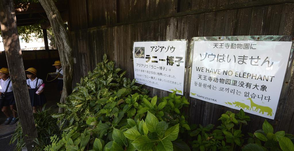 ゾウがいないことを伝える張り紙がしてあるゾウ舎入り口=大阪市天王寺区の天王寺動物園(須谷友郁撮影)