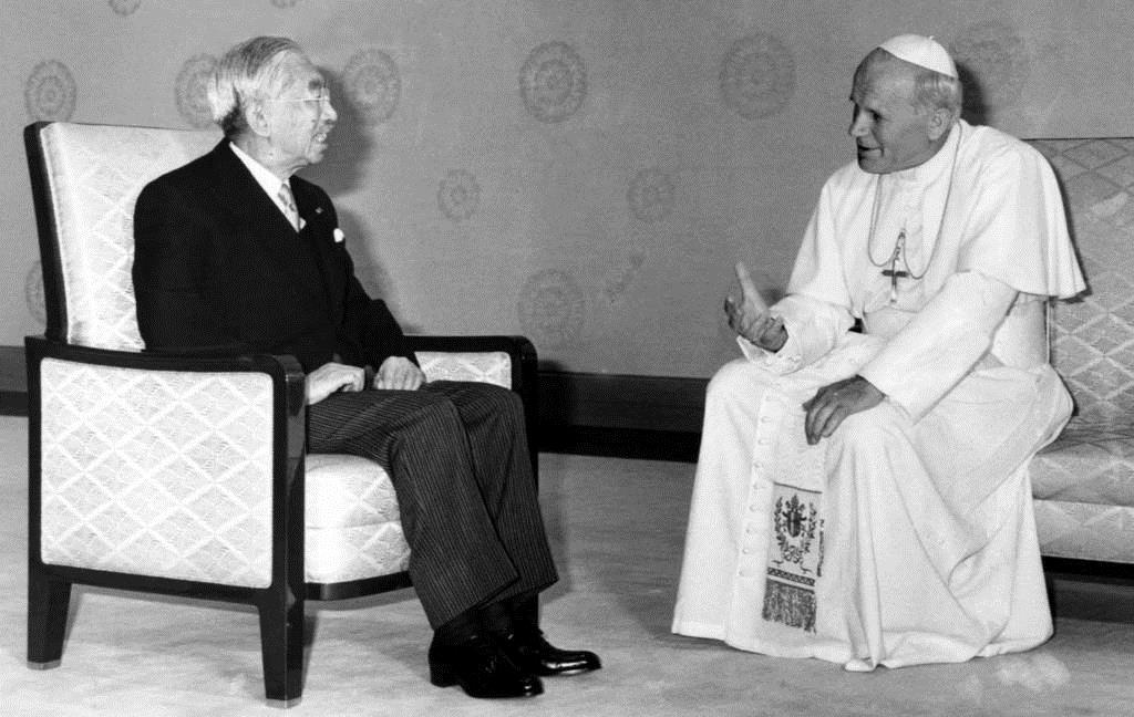 初来日したローマ法王、ヨハネ・パウロ2世と会見される昭和天皇=昭和56年2月24日