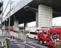 足場覆うシート燃えたか 東名高架火災、静岡