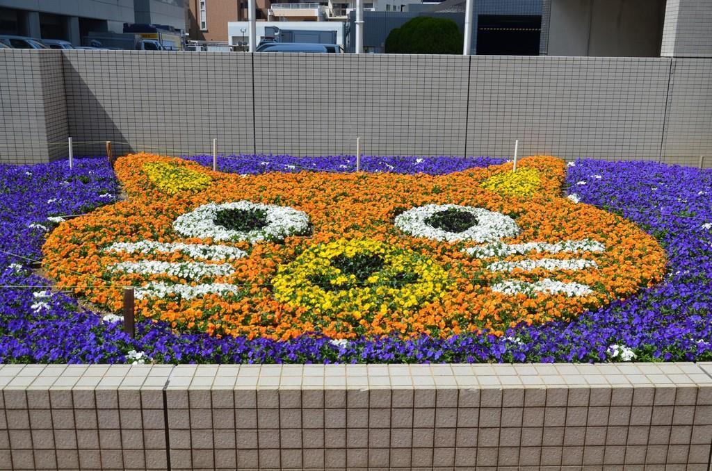 中部電力のキャラクター「カテエネコ」を模した花壇
